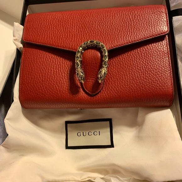 Gucci Handbags - Gucci Leather Crystal Dionysus Flap bag Red